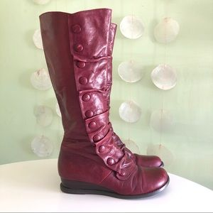 Mix Mooz Red Leather Bloom Button Knee Wedge Boots